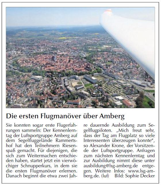 Die ersten Flugmanöver über Amberg